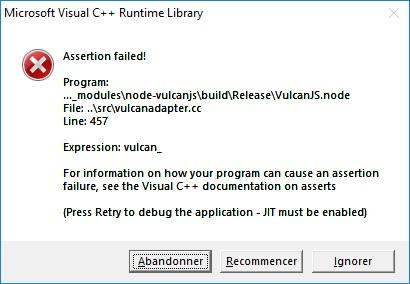 Erreur Visual C Assertion Failed Microsoft Community