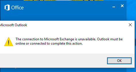 connection to microsoft exchange is unavailable outlook 2013
