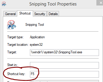 shortcut key for opening snipping tool