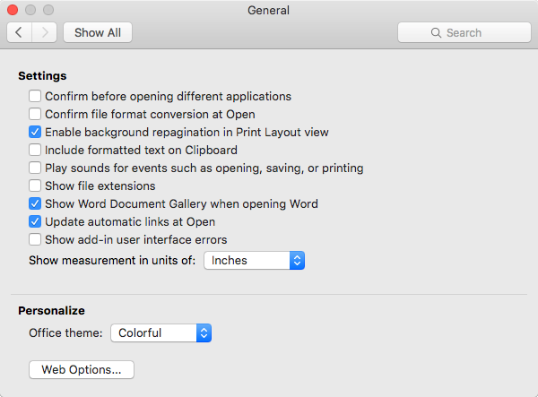 how to clear recent files on word mac 2016