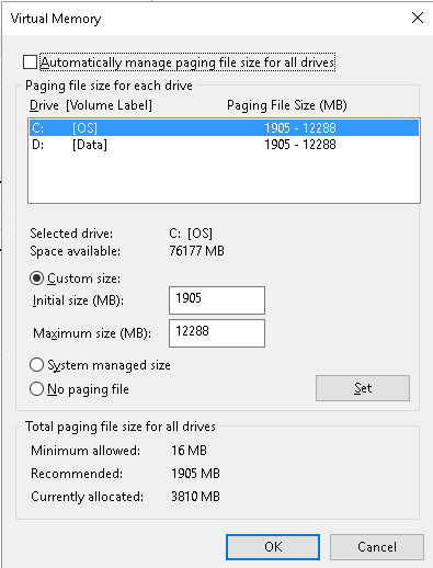 Settings For The Virtual Memory For A 8 Gb Ram Asus Running Windows 10 Microsoft Community