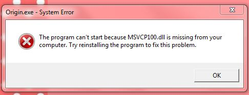 Error: MSVCP100 dll missing? [SOLVED] - Microsoft Community