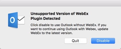 Outlook Mac 16 20 breaks WebEx Productivity Tools
