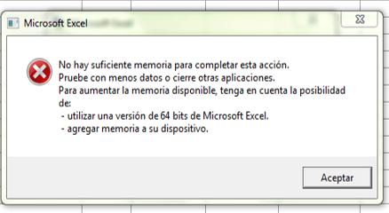 memoria insuficiente en excel mac