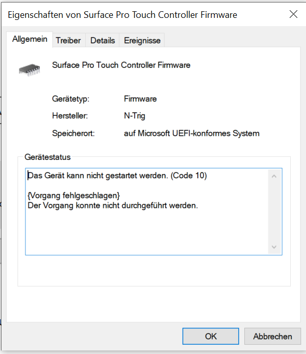Surface Pro Touch Controller Firmware & I2C HID Devices Error No