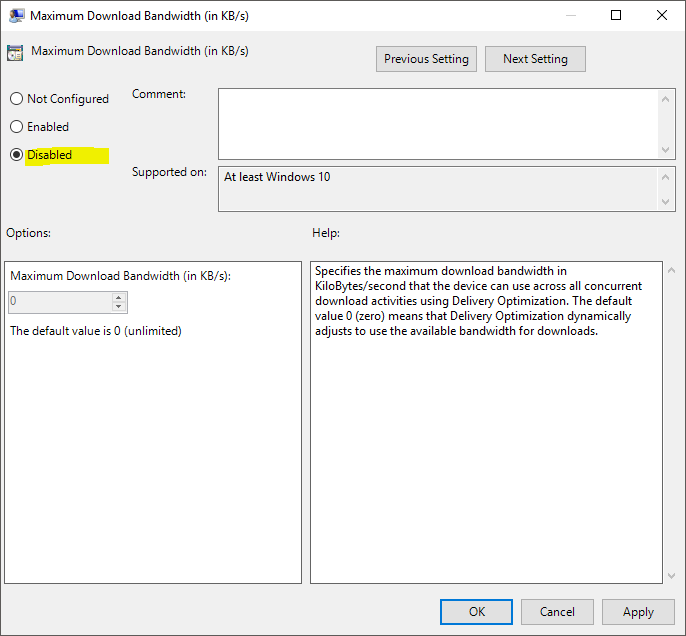 Windows 10 - Service Host Delivery Optimization using too much