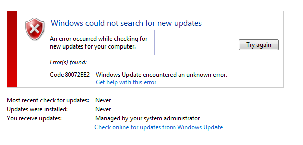 windows update cannot check for updates