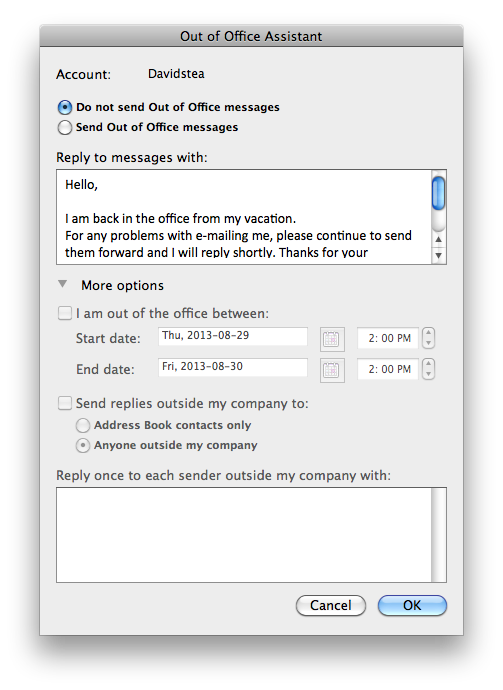 microsoft office 2013 out of office message