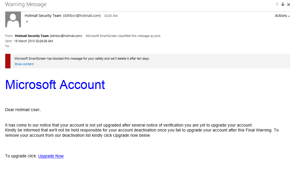 Email giving final notice to upgrade microsoft account