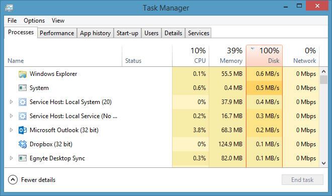 microsoft windows 8.1 disk usage 100