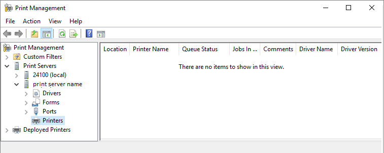 no printmanagement.msc windows 10