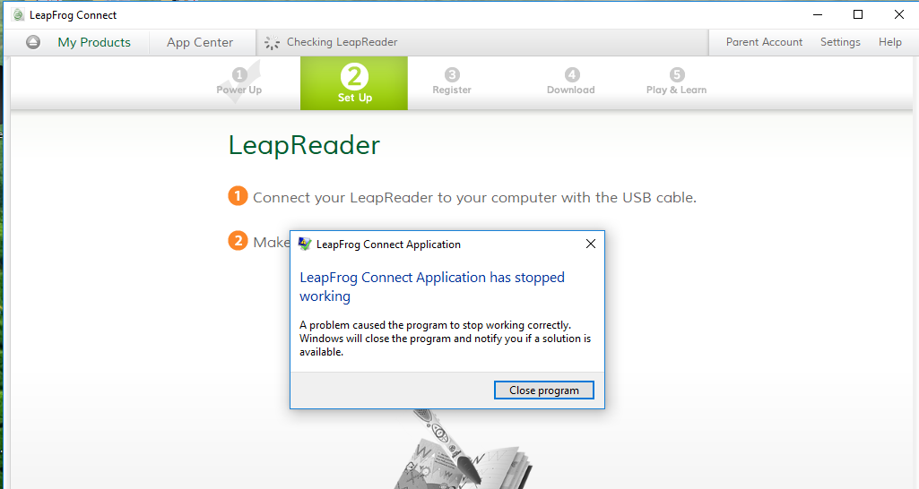 LeapFrog Connect freezes and crashes after inserting LeapReader in