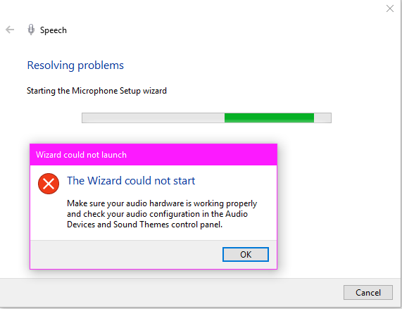 Wizard Could not start to set up microphone. - Microsoft Community