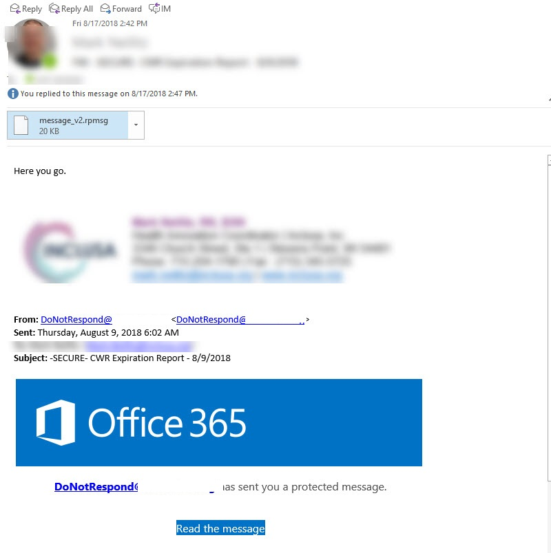 Office 365 Secure Message with message_v2 rpmsg attachment
