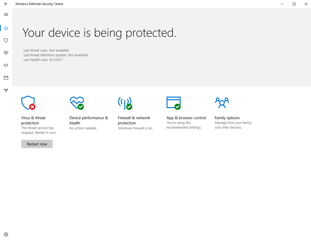 Windows Defender The threat service has stopped  Restart it now