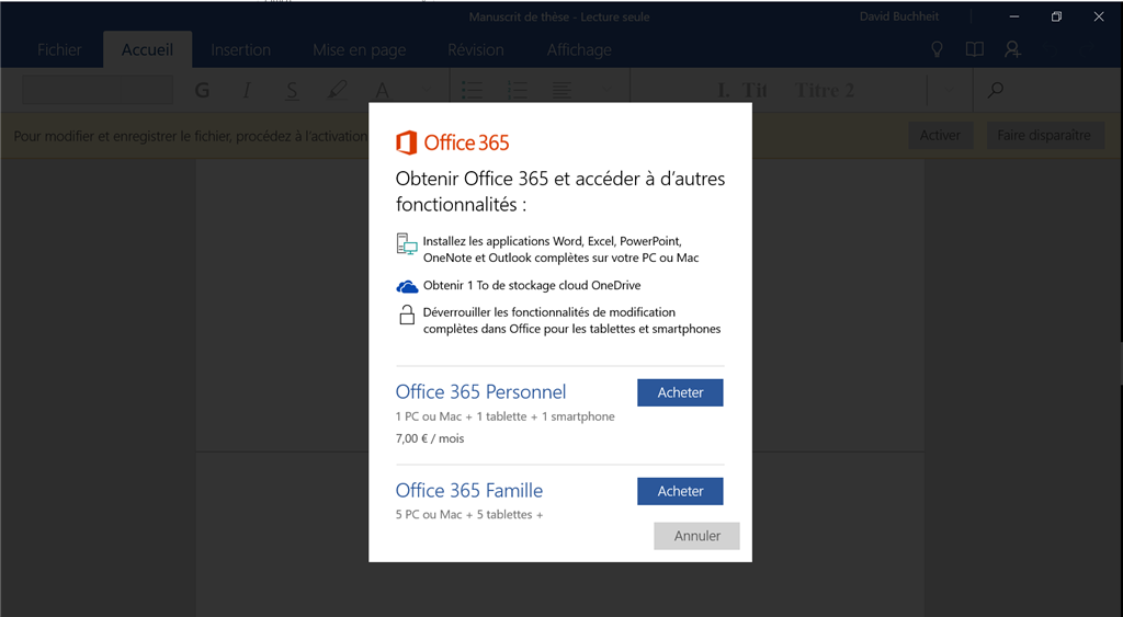 activer office 365 windows 10