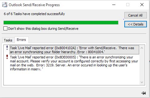 Outlook hotmail inbox not updating