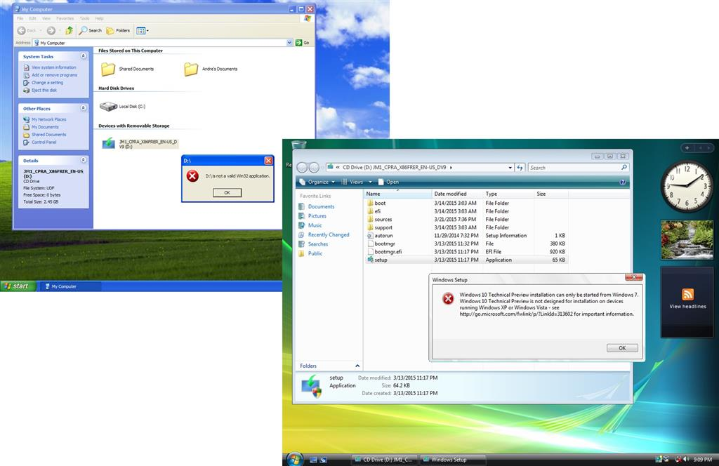 Running an ISO in Windows XP to upgrade to Win 10