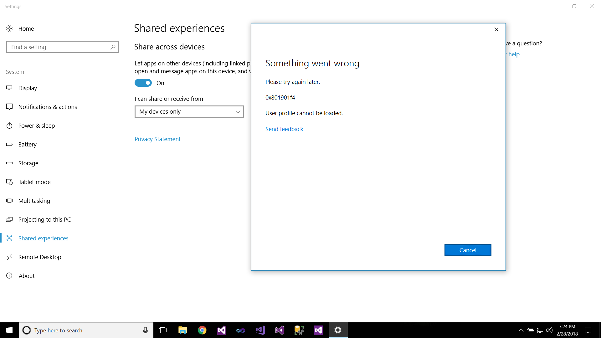 microsoft account problem fix it in shared experiences