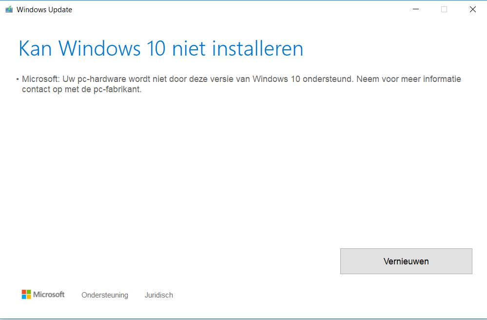 Upgrade to Windows 10 version 1803 fails with error 0xc1900209