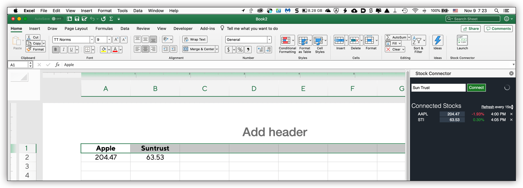Stock quote in Excel - Microsoft Community