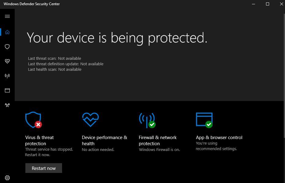 Windows defender: \