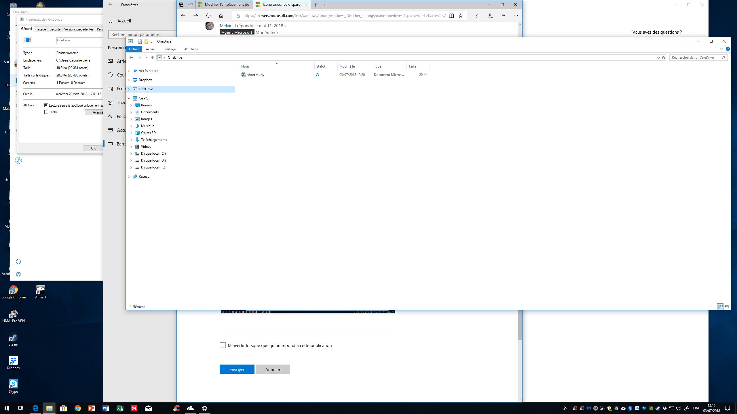 Icone onedrive disparue de la barre des tâches - Microsoft ...