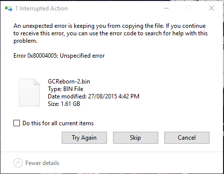 Error 0x80004005 with file extraction [on Windows 10