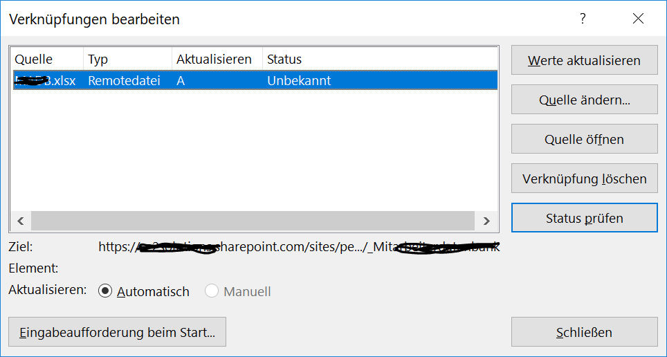 Excel external link to a file stored in Sharepoint - Microsoft Community