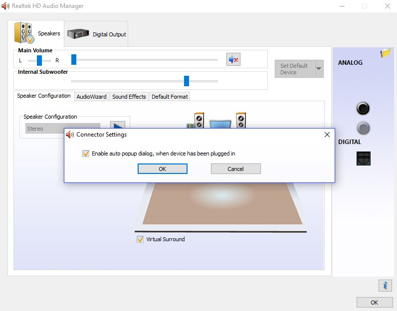 Realtek HD Audio Manager thinks that headphones are a
