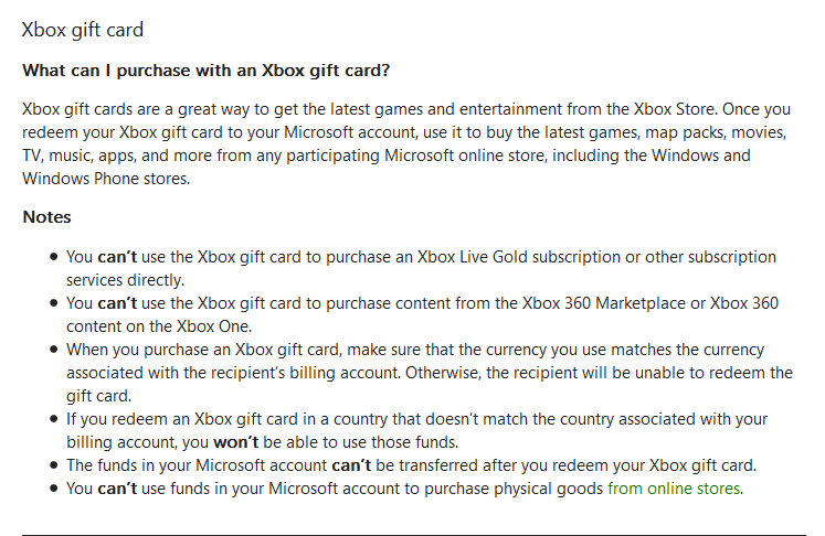 do xbox gift cards work on the windows store microsoft community