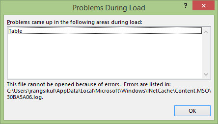 cannot open excel file due to its show error problem during