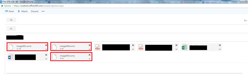 My outlook (office 365) sometimes generate a  wmz attachment