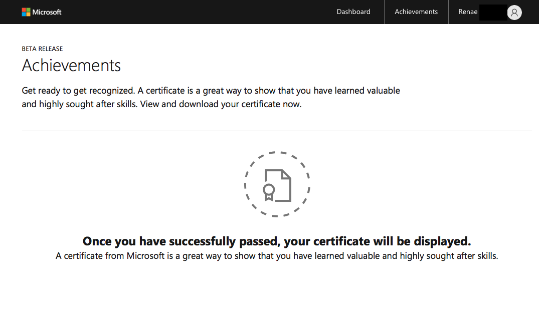 Verified Certificates Not Showing On Academymicrosoft