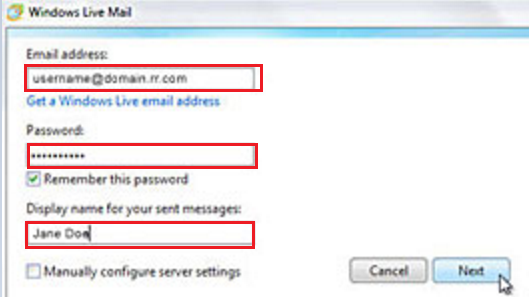 How do I set up my Roadrunner email account in Windows Live