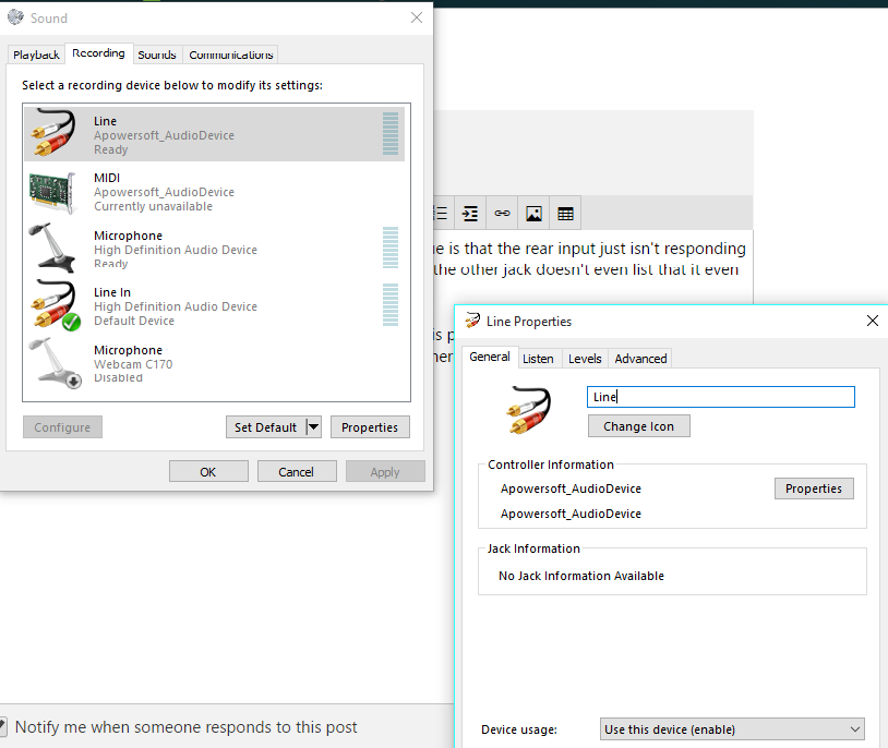 Rear Input Mic Port Not Working Windows 10 - Microsoft Community