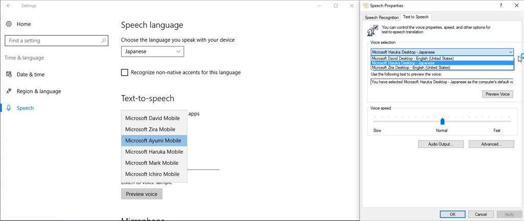 Use mobile TTS voices as desktop TTS voices - Microsoft