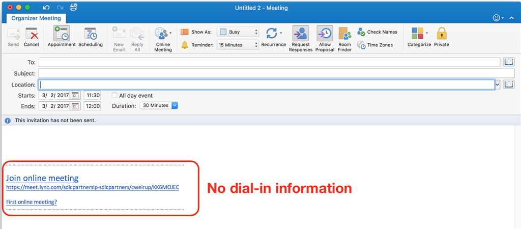 Skype for Business Dialin Conf Number Not Added to Outlook Online