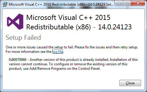 microsoft visual c++ 2008 redistributable package (x64) install failed
