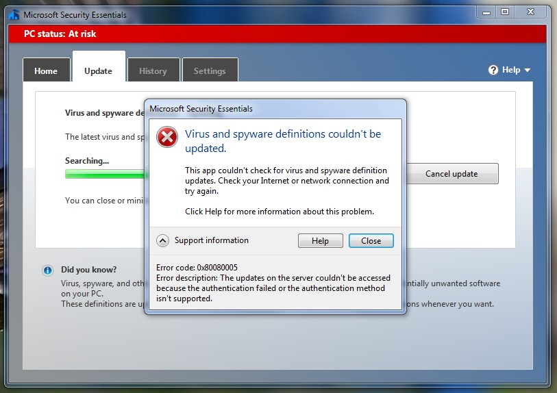 Trouble updating microsoft security essentials