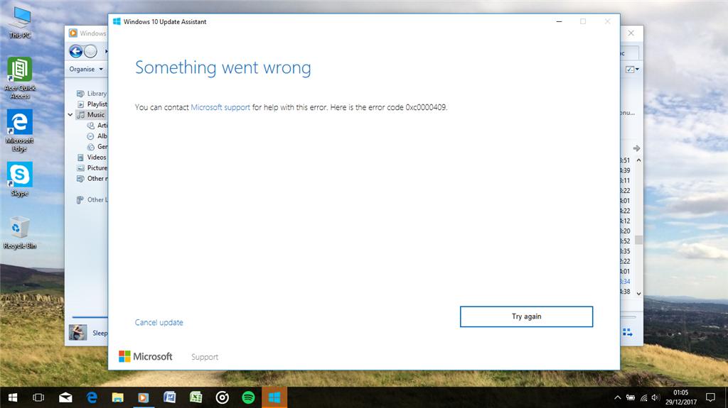 windows 10 update assistant fails
