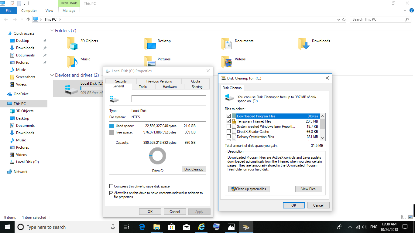 NOW DISK CLEANUP NOT WORKING IN WINDOWS 10 1803 AFTER UPDATE October