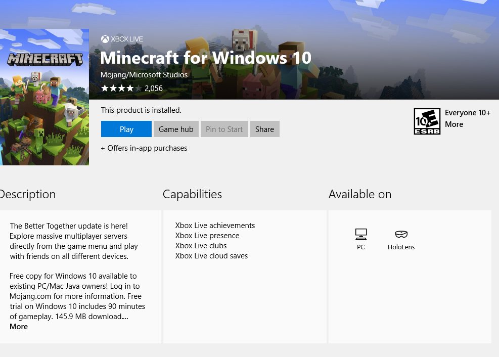 Minecraft Win 10 Edition Stuck At Trial Ver Microsoft