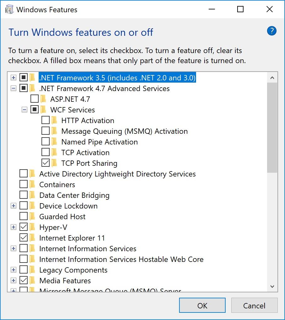 Windows Features Problem .Net Framework 220.20 and higher ...