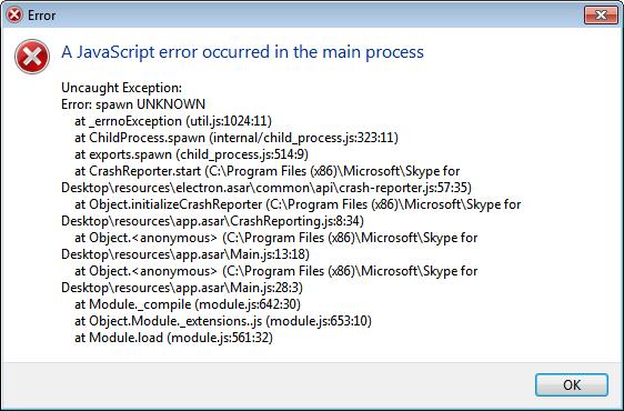 A JavaScript error occurred in the main process - Microsoft Community