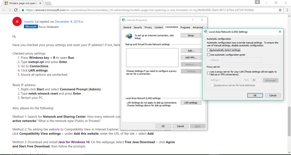 Modem page not opening in any browsers in my windows 10