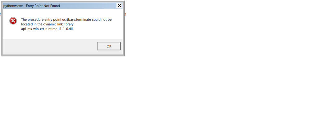 Getting entry point not found error message while installing and