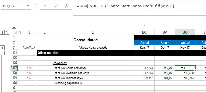Excel: using an indirect formula to sum single cells