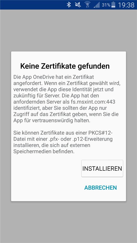 OneDrive for Business Android App verlangt seit neustem Zertifikat ...