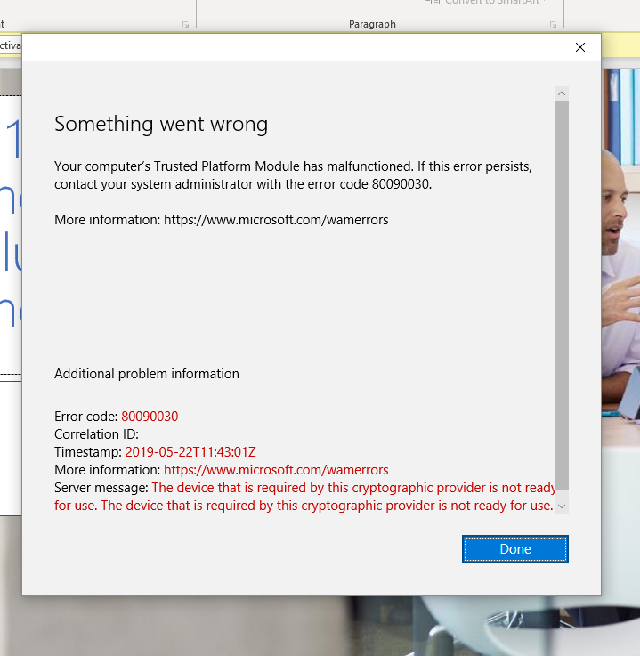 Error 80090030 when logging into clients Office365 account